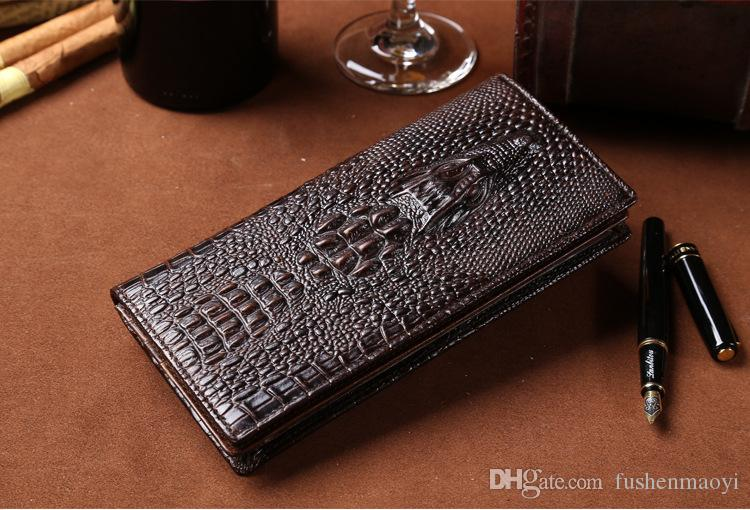Long Mens Wallets first layer Cowhide Vintage Crocodile pattern Genuine Leather Wallets Credit card wallet