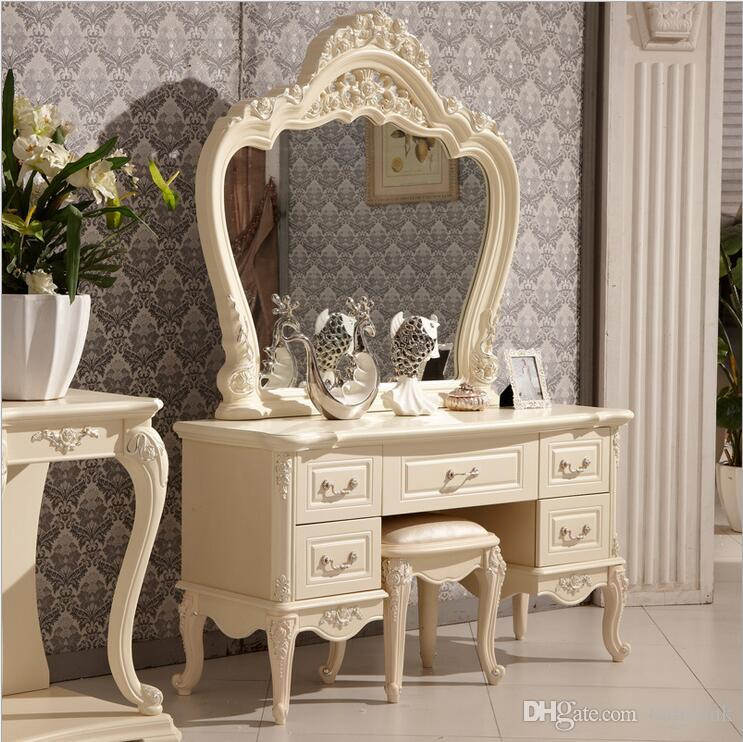 Factory Price RoyalEuropean Mirror Table Modern Bedroom Dresser French  Furniture White French Dressing Table P10140