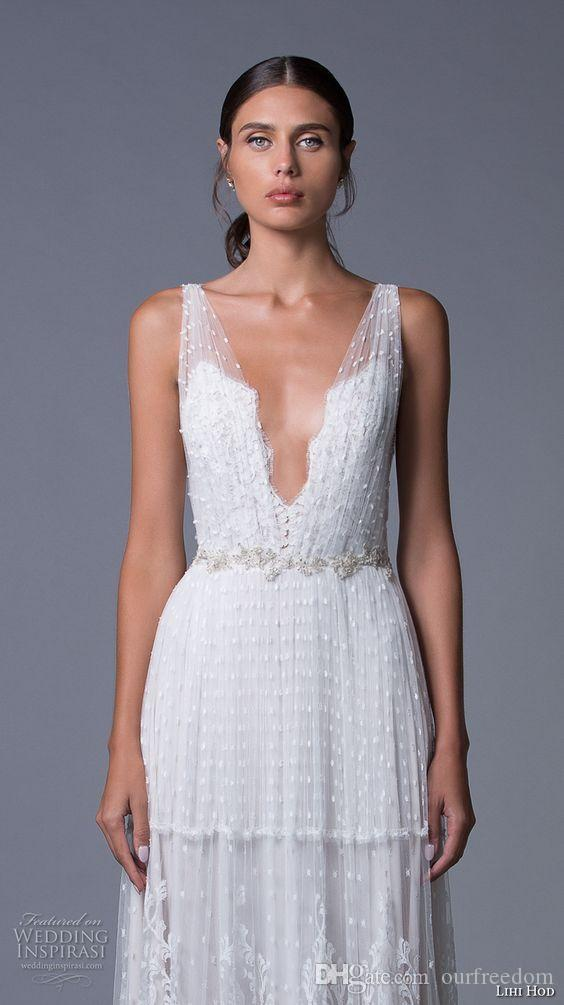 Lihi Hod Backless Lace 2019 Beach Wedding Dresses Cap Sleeves Crystals Pearls Bridal Dresses Sexy Tulle Boho Bridal Gowns