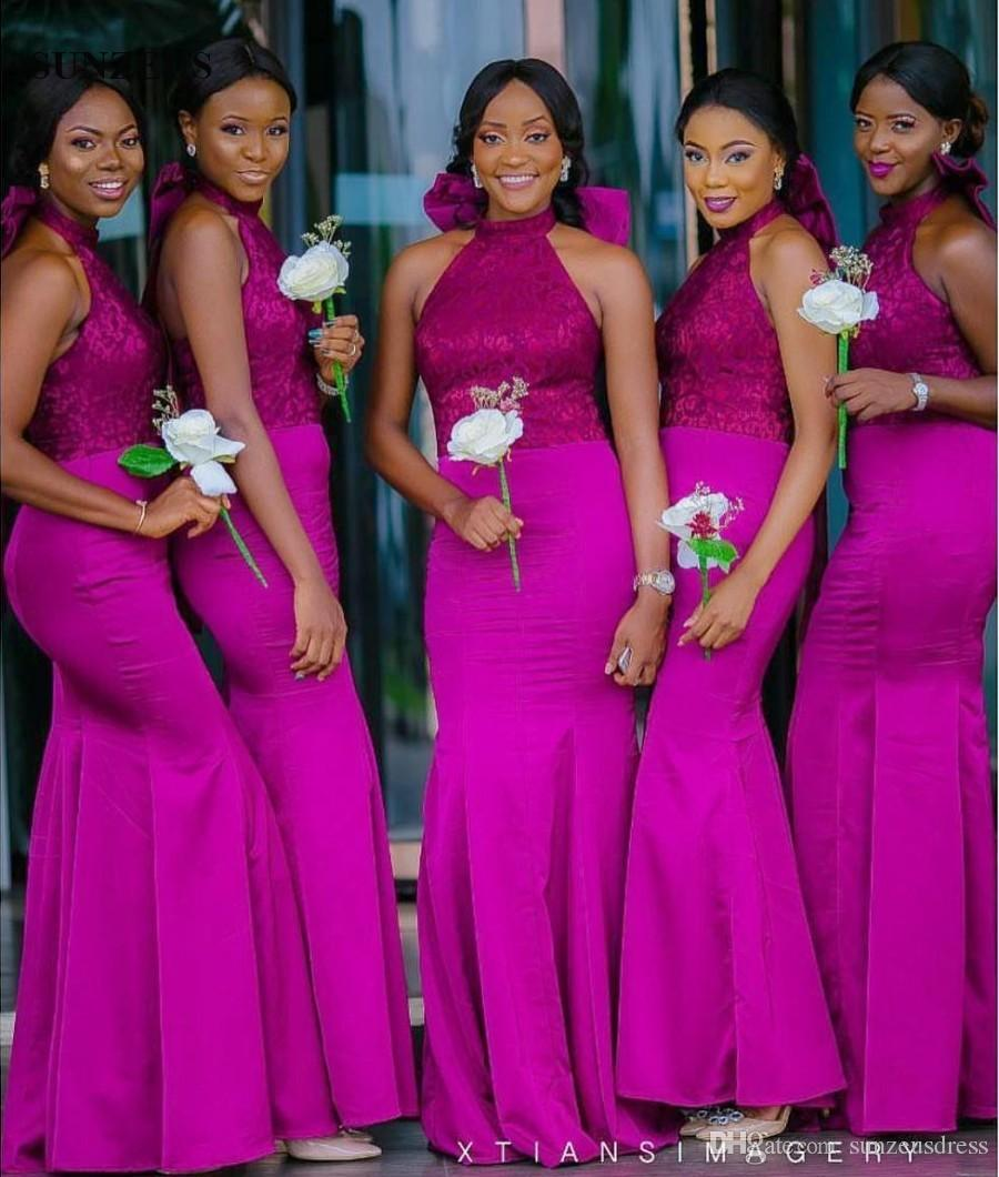 Mermaid Halter Neck Low Back Fuchsia Bridesmaid Dress With Lace ...