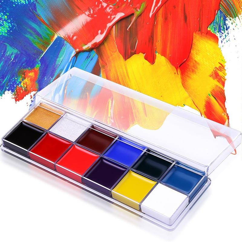 New 12 Colors Flash Tattoo Face Body Paint Oil Painting Art use in Halloween Party Fancy Dress Beauty Makeup Tool
