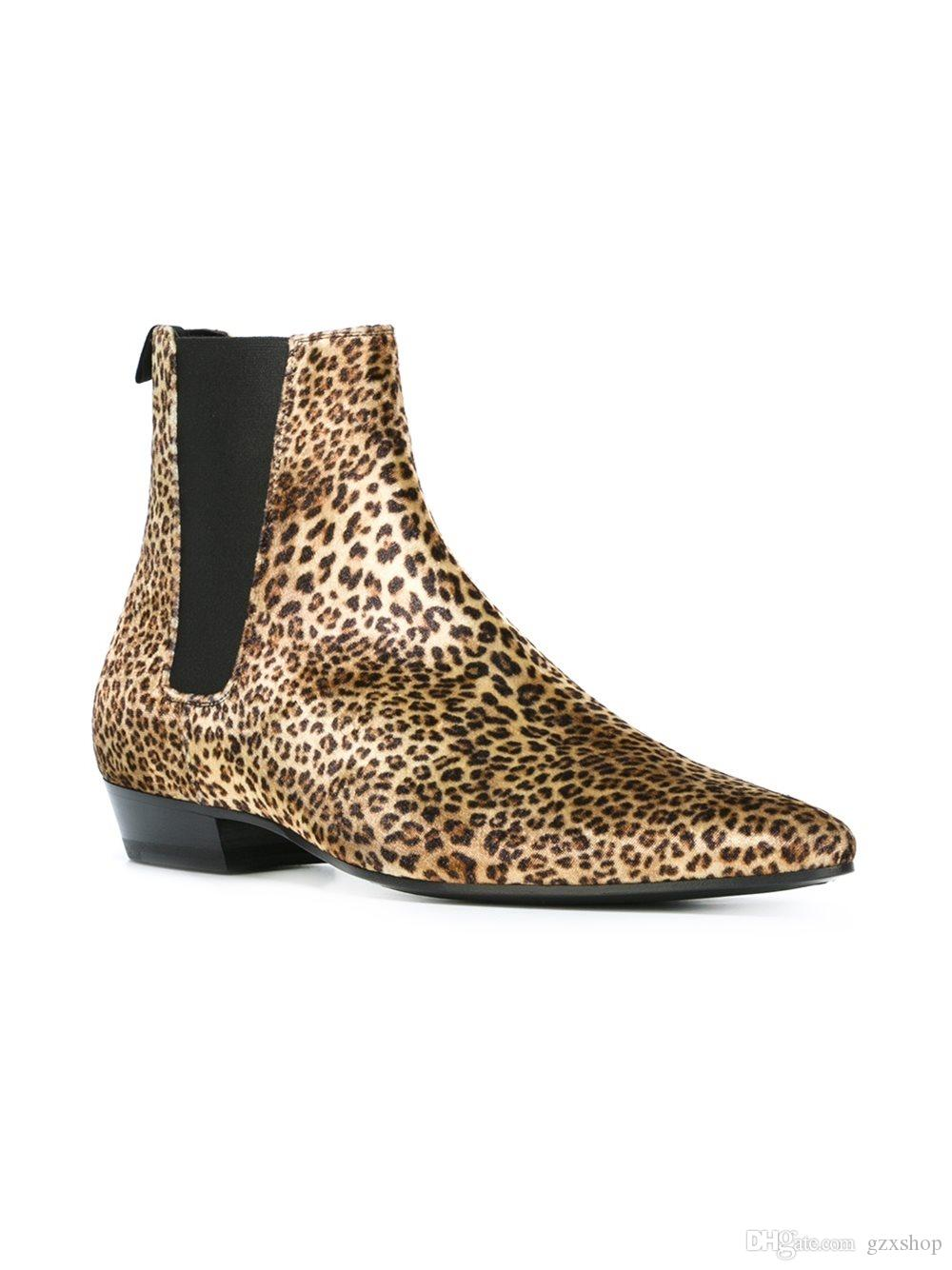 1a736cde1a0c Leopard Print Leather Boots SexeMara New Arrival European Fashion ...