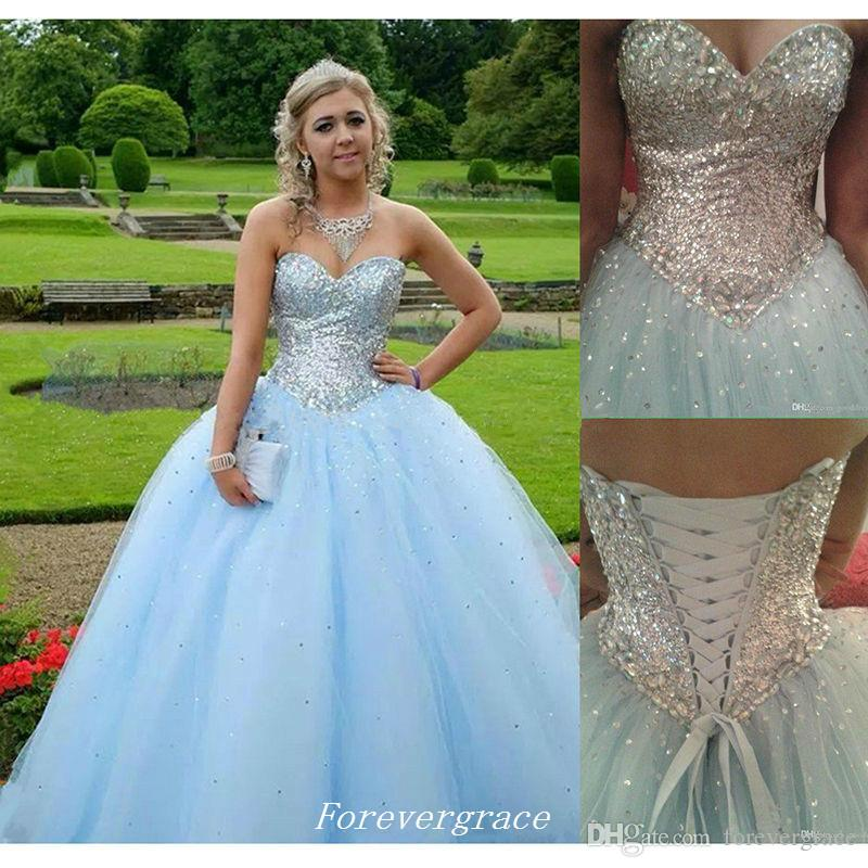 High Quality Aqua Blue Long Quinceanera Dress Cheap Ball Gown Sequins Formal Sweet 16 Special Occasion Dress Party Gown Plus Size