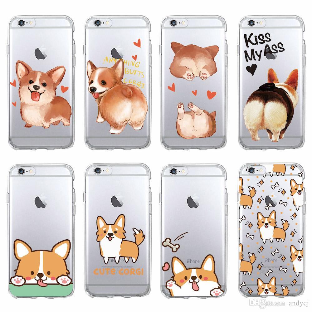 huge discount 3e254 fa21a Cute Corgi Butt Animal Puppy Soft Clear Phone Case Fundas Coque Cover For  iPhone 7 7Plus 6 6S 8 8PLUS X SAMSUNG GALAXY
