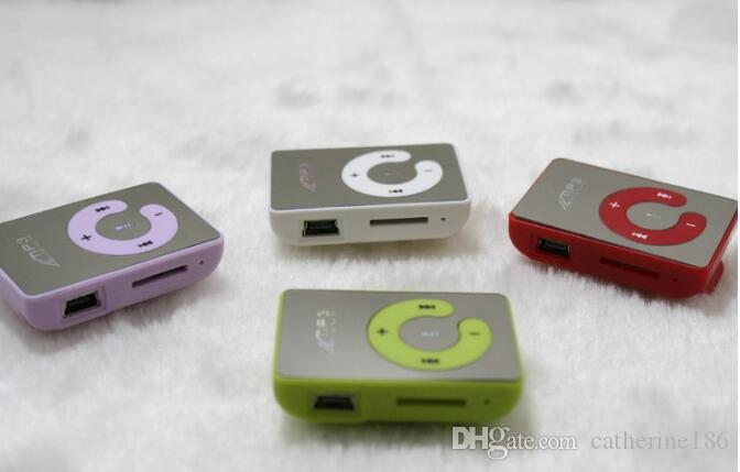 retails Colorful MINI Clip MP3 Player Music player with C design Support Micro SD Card TF Slot + Earphone +USB Cable with Gift box