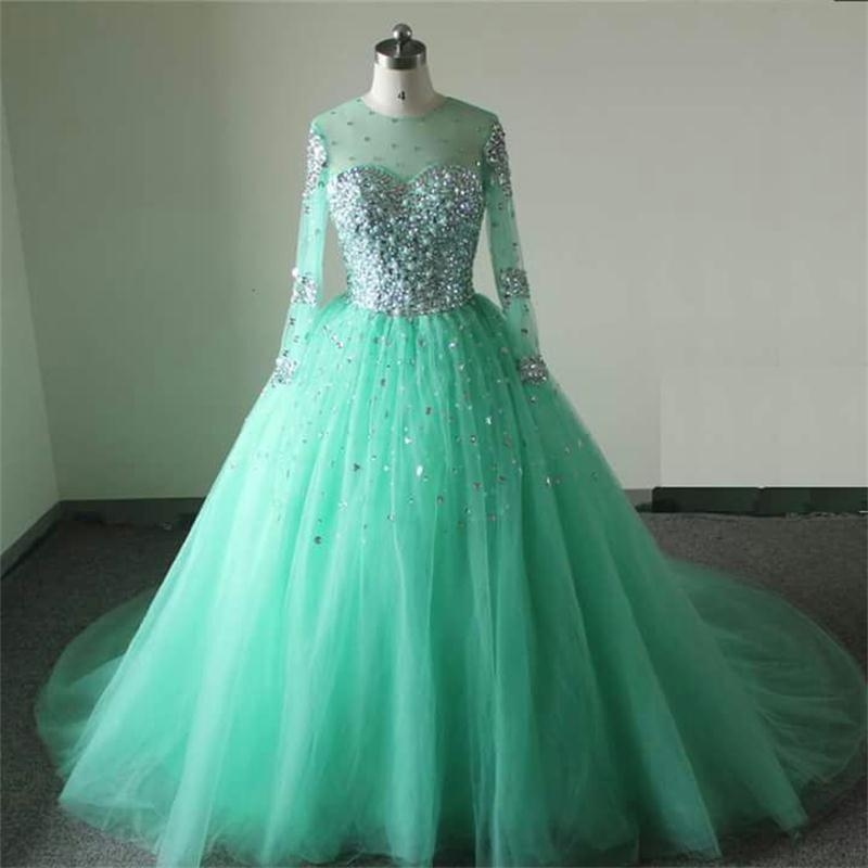 Mint Green Wedding Dresses 2017 Long Sleeves Wedding Gowns Tulle ...