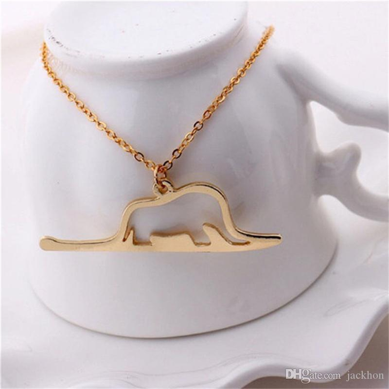 Полые наброски Le Petit Маленький принц ожерелье животных хорошо повезло оригами слон в Змея ожерелья на День Рождения