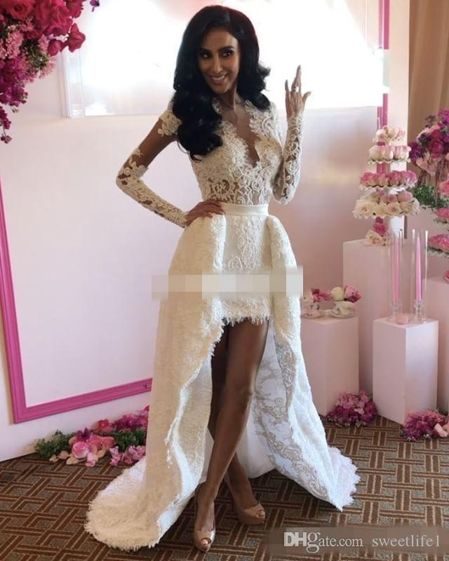 Bohemian Lace Long Sleeve Wedding Dresses 2019 Sexy Fashion V Neck Open Back Detachable trian Garden Bridal Gown Custom Made