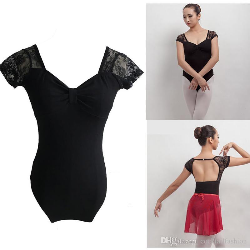 Acheter Ballet Danse Justaucorps Femmes 2017 Nouveau Noir Manches Courtes  Gymnastique Vêtements Danse Adulte Ballot Coton Léotard De  18.6 Du ... 5f95446a22f