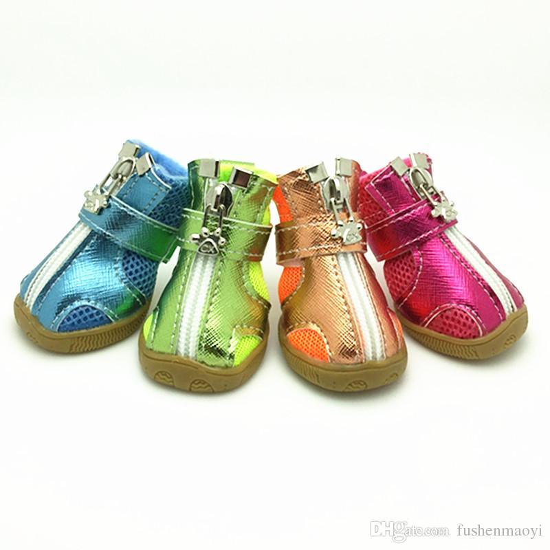 Pet Moda Serisi Köpek Ayakkabı Patik Silikon Tabanlar Nefes Örgü Köpek Çizmeler 5 boyutları 5 renkler ücretsiz kargo