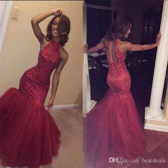 Red Mermaid Prom Dresses 2017 Luxury Beading Vestidos De Fiesta Halter Neck Backless Fitted Evening Party Gowns