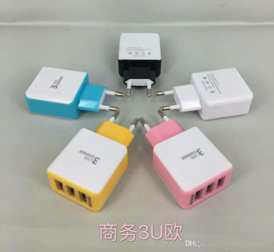 3 USB Port 2A Real Wall charger EU US PLUG IC POWER ADAPTER For Smart phone Pad
