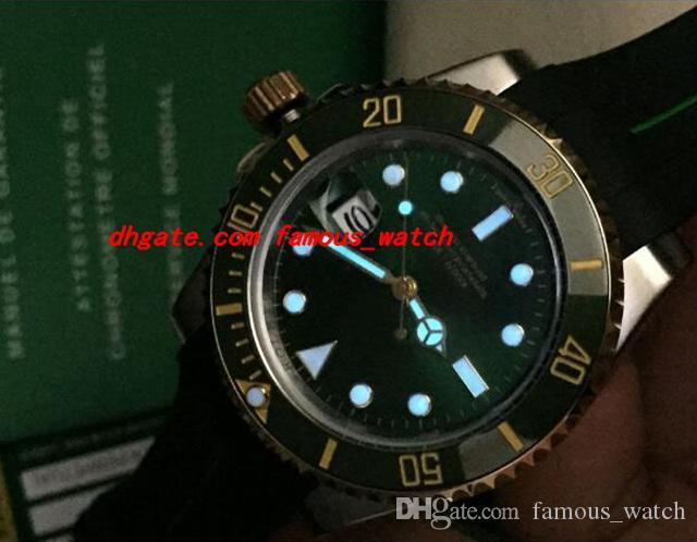 최고 품질 2017 럭셔리 고무 팔찌 116610 화이트 골드 그린 세라믹 베젤 / 다이얼 40MM 자동 운동 남자 시계 새로운 도착