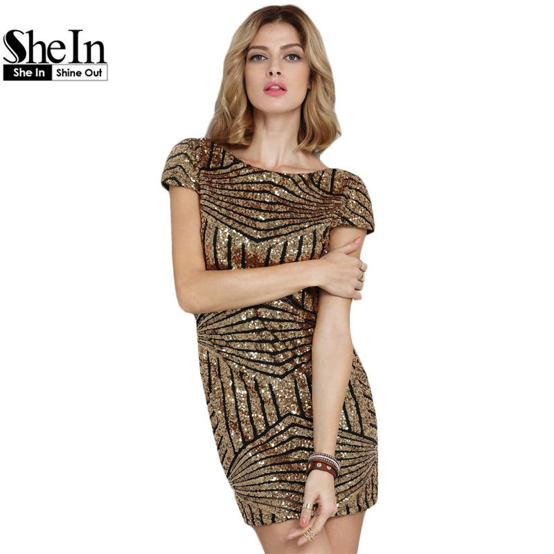 71d6db78e66 2019 Wholesale SheIn Round Neck Sequined Bodycon Dress Women Party ...