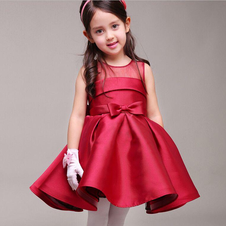 2017 새로운 꽃의 소녀 드레스 새틴 파티 결혼식을위한 미식가 친목 복장 작은 소녀의 어린이 / 어린이 공주 의상
