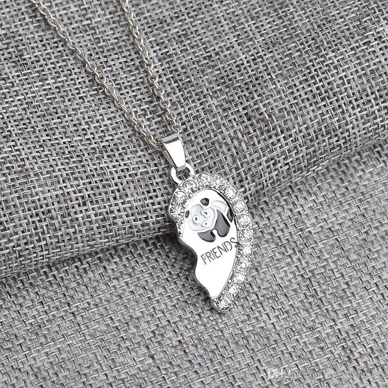 Best Friends necklaces for broken Heart Silver Pendant Necklaces Bff Enamel panda friendship gift with good quality factory china