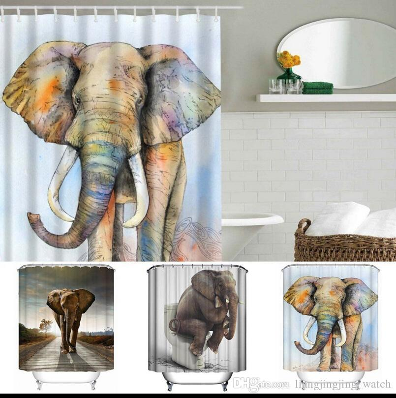 3D Printing Shower Curtains 150x180cm Elephant Printed Waterproof Polyester Shower Curtain Bathroom Partition Curtains 5 design KKA1389
