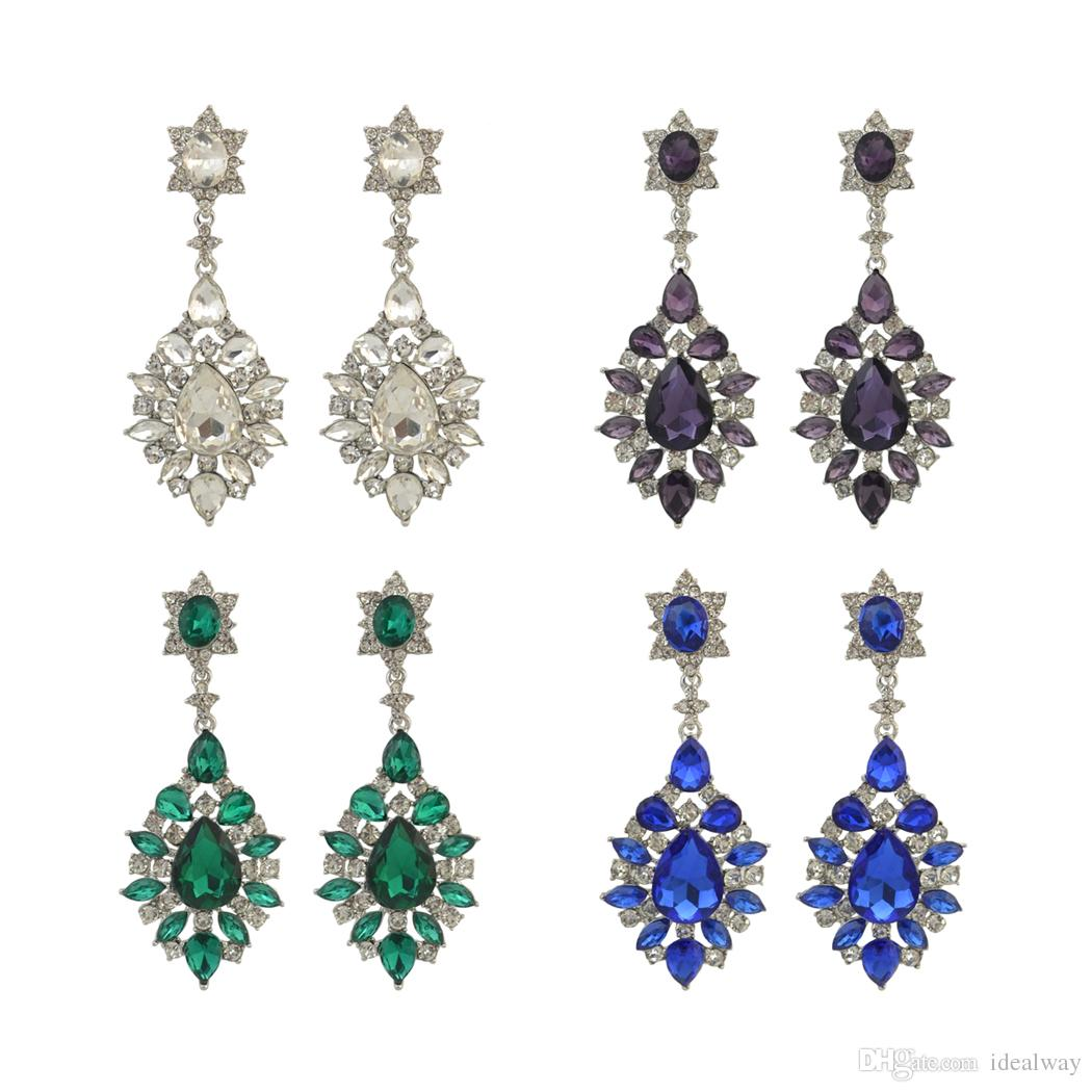 bba74fb6f Idealway Fashion Trendy Women Italina Style Silver Plated Full Rhinestone  Crystal Drop Dangle Earrings Crystal Earrings Bohemian Earrings Dangle  Earrings ...