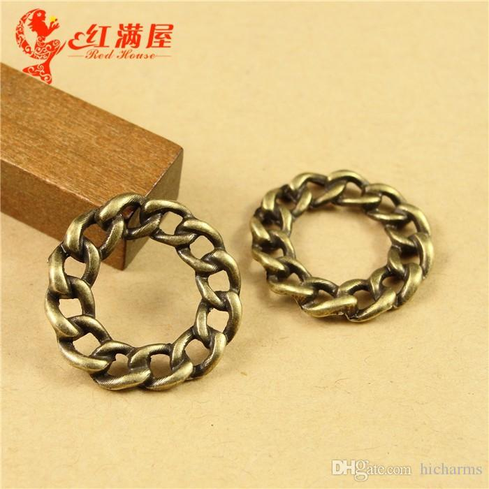 21*4MM Antique Bronze link chain ring round connector charms for bracelet, vintage pendants for necklace, jewelry making handmade materials