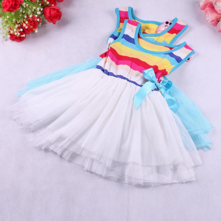 Bébés filles Gilet sans manches Sundress enfants enfants Printemps Eté arc-en-coton Tutu robes avec nœud bowknot