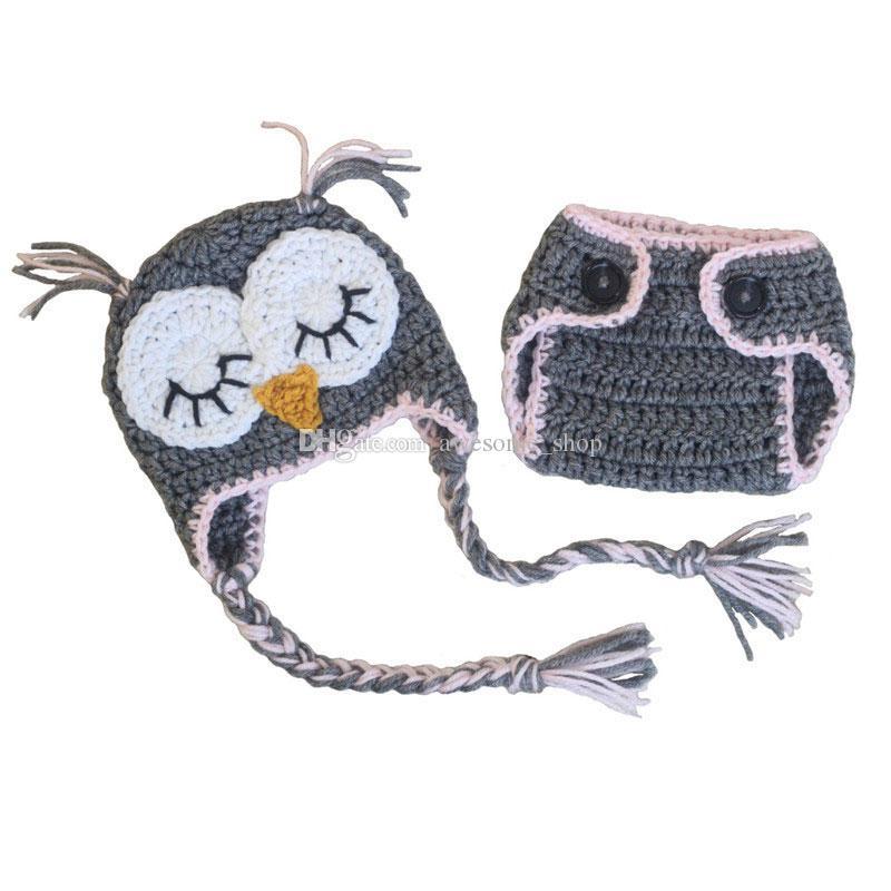 Knit Newborn Animal Costume,Handmade Crochet Baby Boy Girl Grey Sleepy Owl Hat Diaper Cover Set,Inant Toddler Photo Prop Halloween Costume