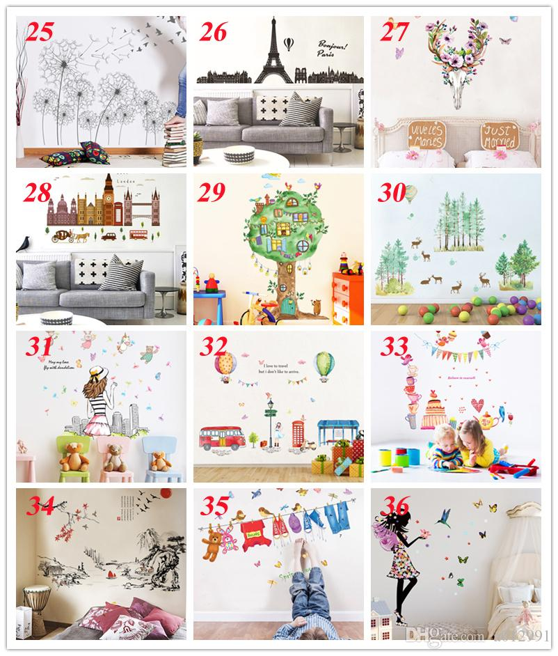 36 styles New Removable PVC Cartoon Wall Decals Home Decor Sticker Mordern art Mural for Kids Nursery Living Room