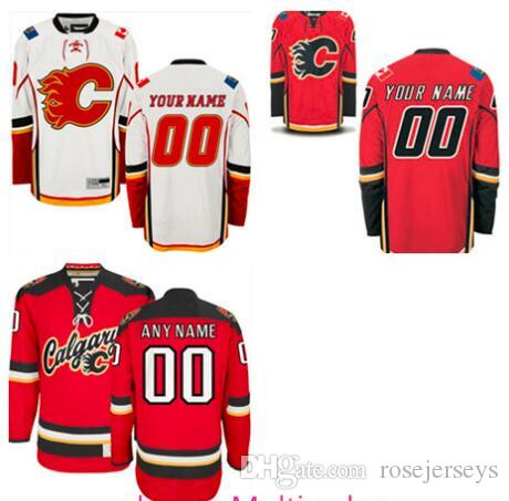 8908052bd ... Jersey 2017 Stitched Custom Calgary Flames Mens Womens Youth Kids Red Personalized  Customized Third Home White Ice ...