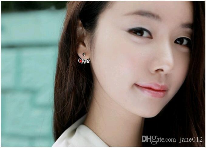 Monili di modo mescolano i bacini coreani della lettera di amore e di bacio con il gancio dell'orecchio degli orecchini di fascino della parte anteriore e della parte posteriore dei due lati del Rhinestone