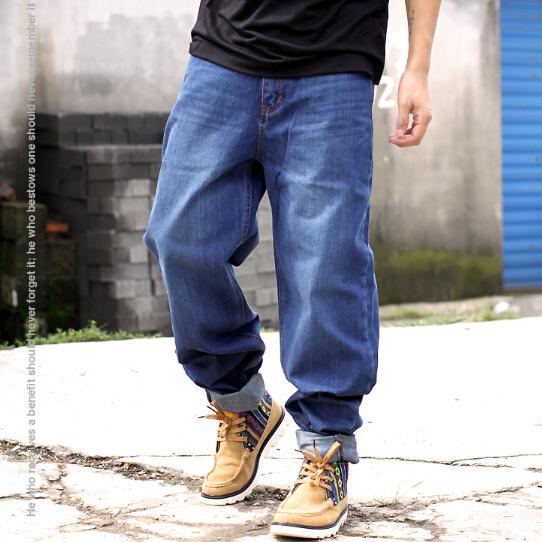 2018 wholesale blue baggy jeans men plus size hip hop