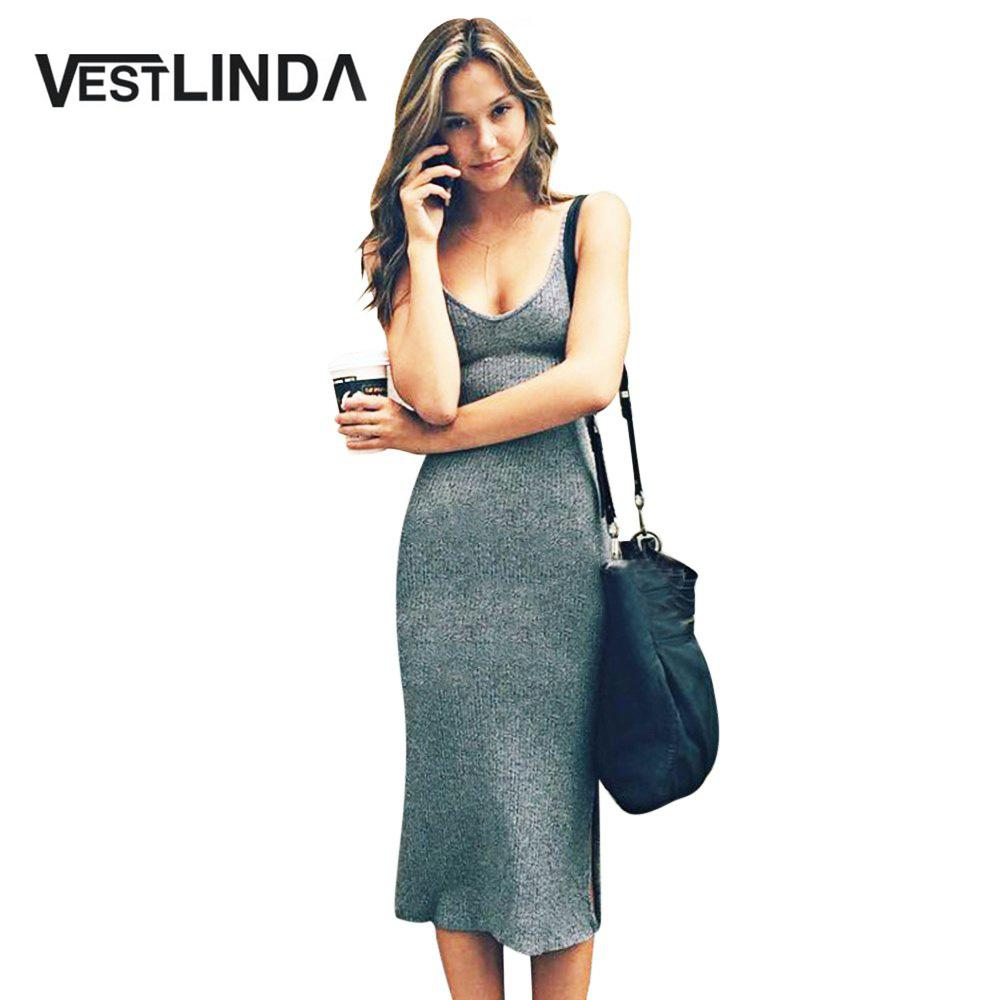 3b820cb67839 2019 Wholesale VESTLINDA Knitted Dress Side Split Midi Bodycon Dress Women Summer  Brandy Melville Spaghetti Strap Sexy Deep V Neck Beach Dress From Erzhang