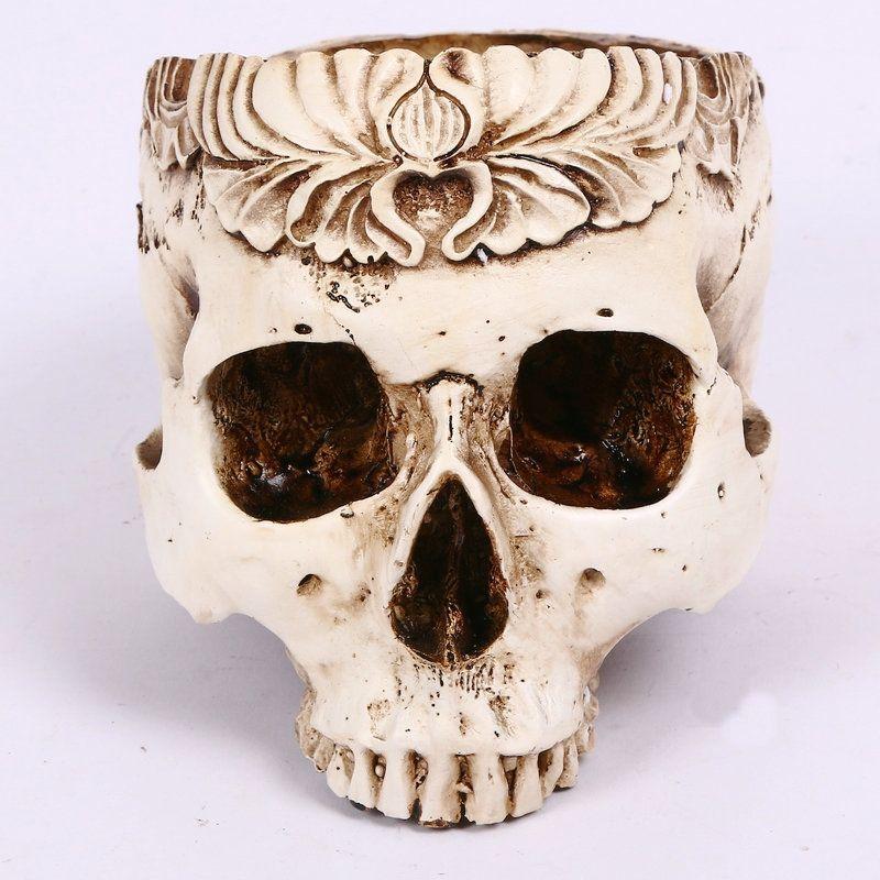 Novedad cráneo maceta decorativa jarrones de flores cenicero de resina cenicero mesa hogar fiesta bar restaurante decoraciones