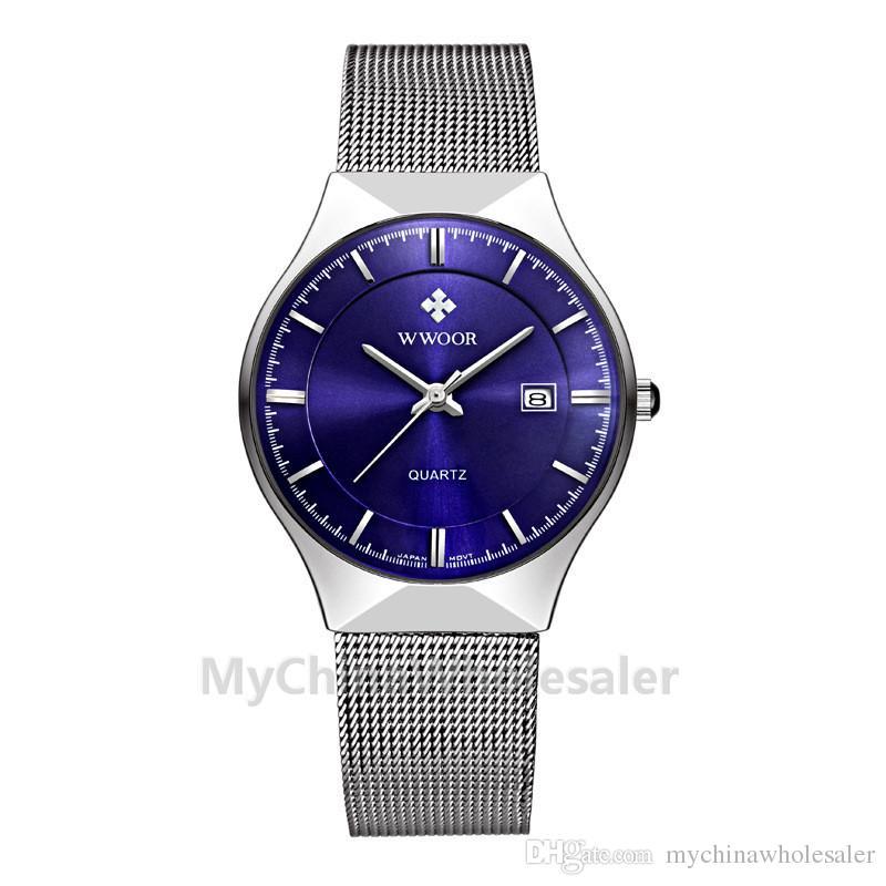 WWOOR Watches New Top Luxury Watch Men Brand Men's Watches Ultra Thin Stainless Steel Mesh Band Quartz Wristwatch Fashion Watches