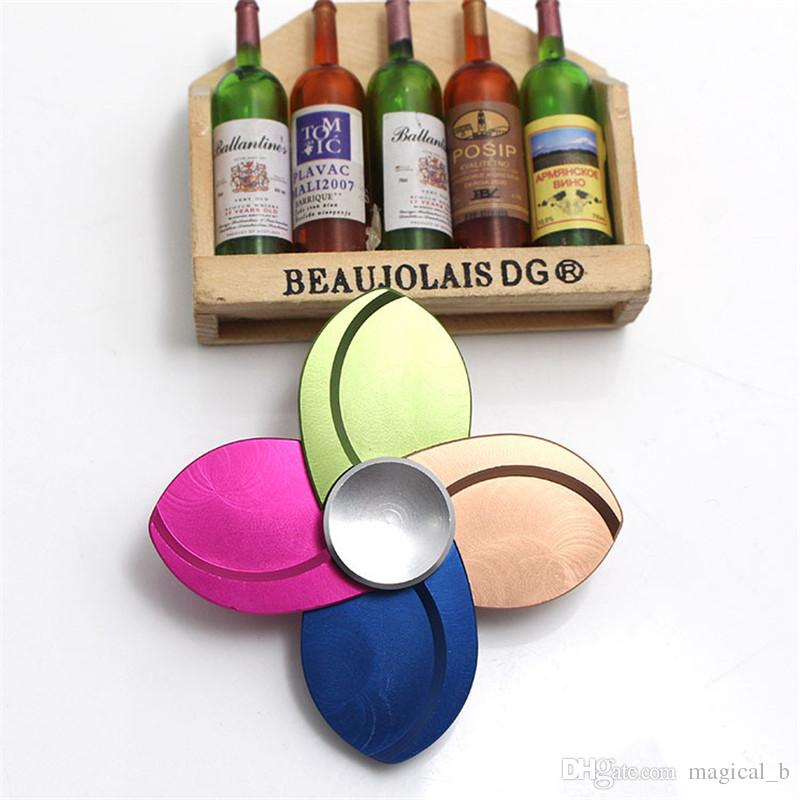 Metal Quad-Spinner windmill Spinner petal 4 leaves Spinner Machined Aluminum Alloy Hand Spinner Anti-stress Fidget Spinners Toys