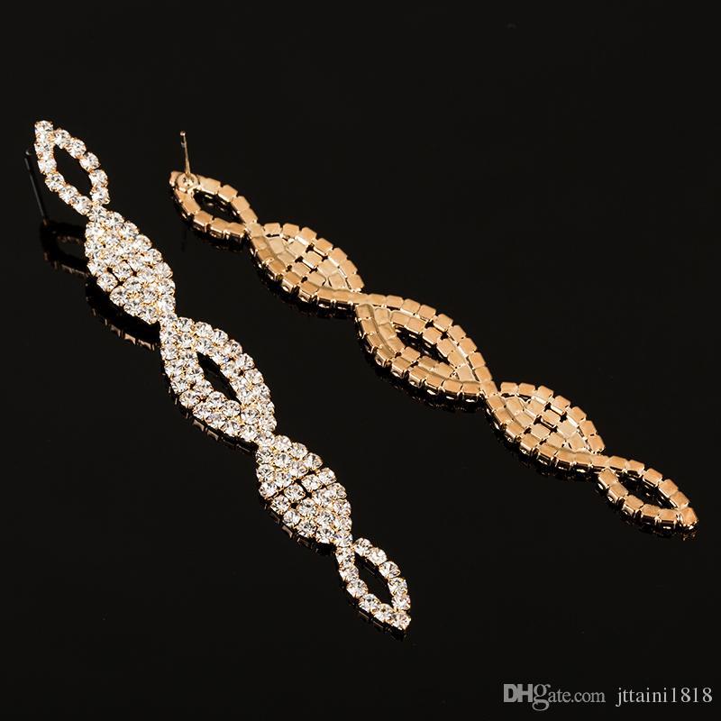YFJEWE Moda Cristal Longo Oscila Brincos para As Mulheres de Ouro e Prata Banhado Moda Jóias de Presente de Casamento Brincos Da Senhora E410