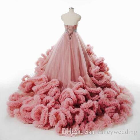 Luxus Elegant Brautkleid Fluffy Cloud Langer Zug Kristall Brautkleid Burgundy Cloud 2017 Brautkleider Robe