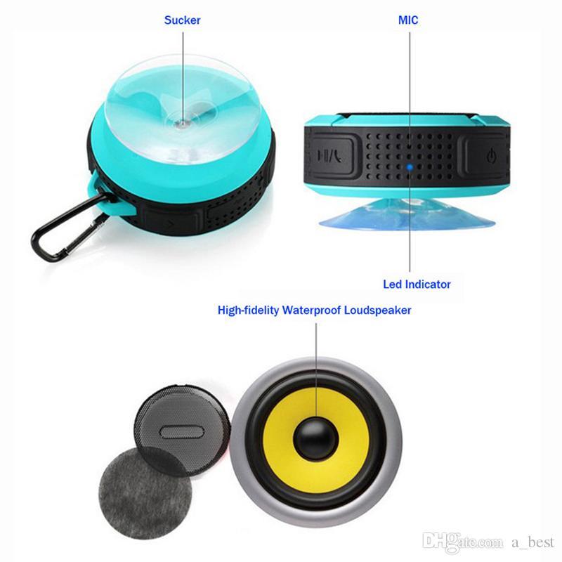 Kablosuz Bluetooth Taşınabilir Su Geçirmez Hoparlör C6 Açık Hoparlörler Sucting Bilgisayar Cep Telefonu Hoparlör Ses Müzik Çalar Destek TF Kart