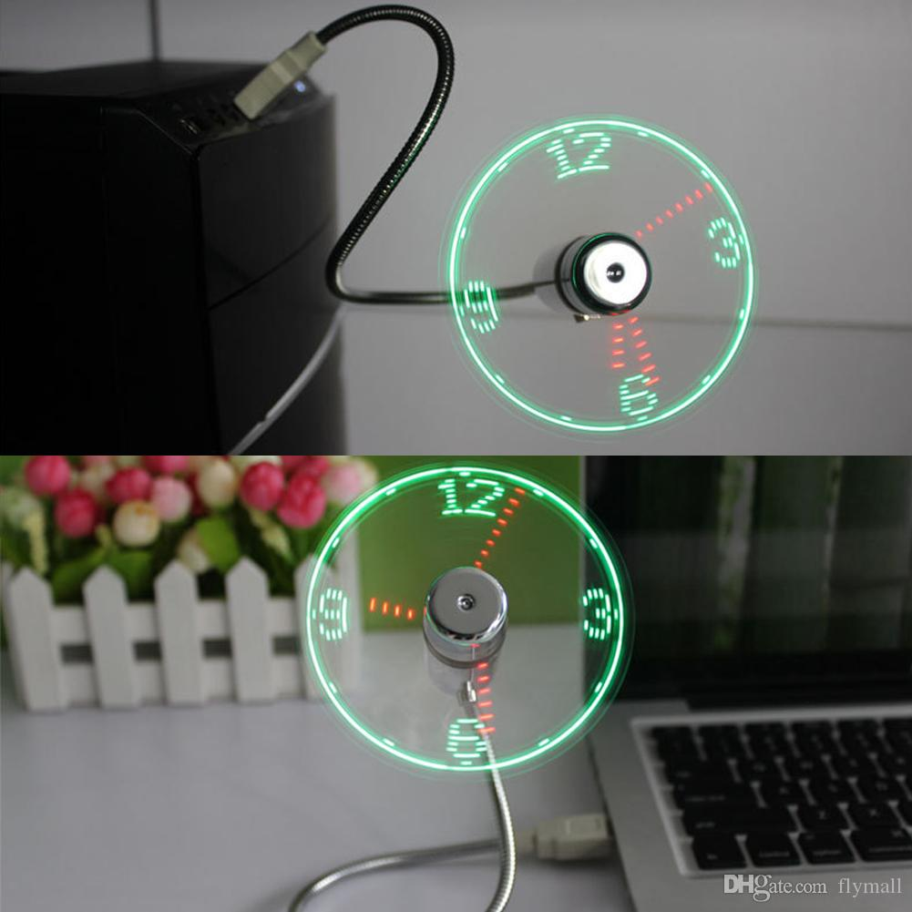 New Durable Adjustable USB Gadget Mini Flexible LED Light USB Fan Time Clock Desktop Clock Cool Gadget Real Time Display High Quality
