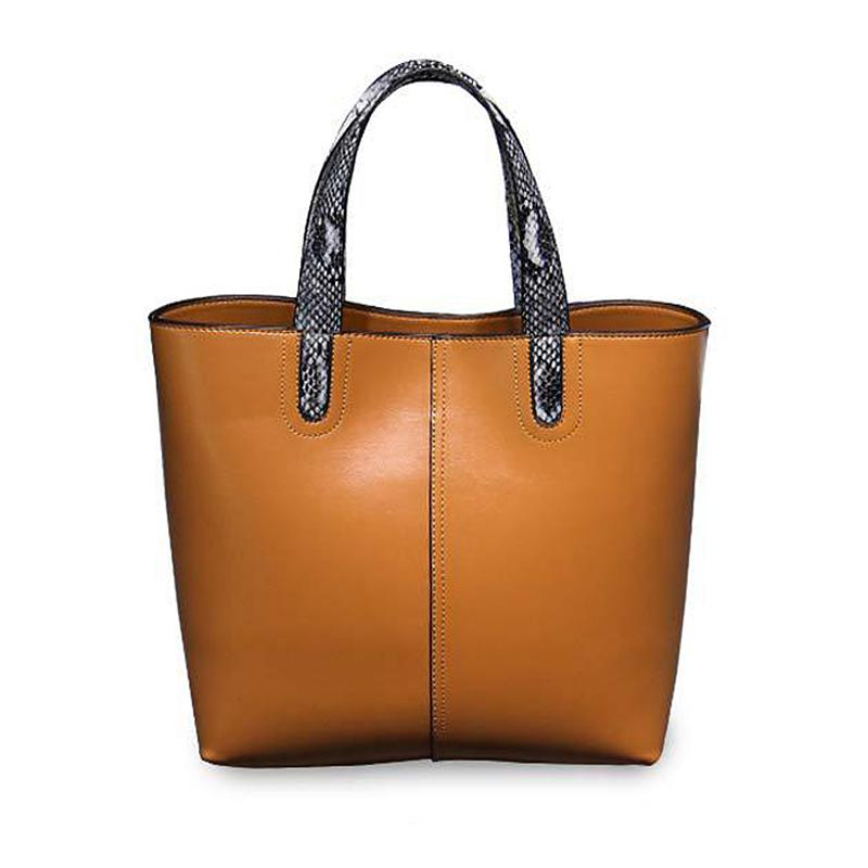 Wholesale Brand Simple Genuine Leather Female Tote Bags High Quanlity  Business Shoulder Bag Luxury Women Snakeskin Pattern Handle Handbag  Designer Bags Hobo ... 5053116240393