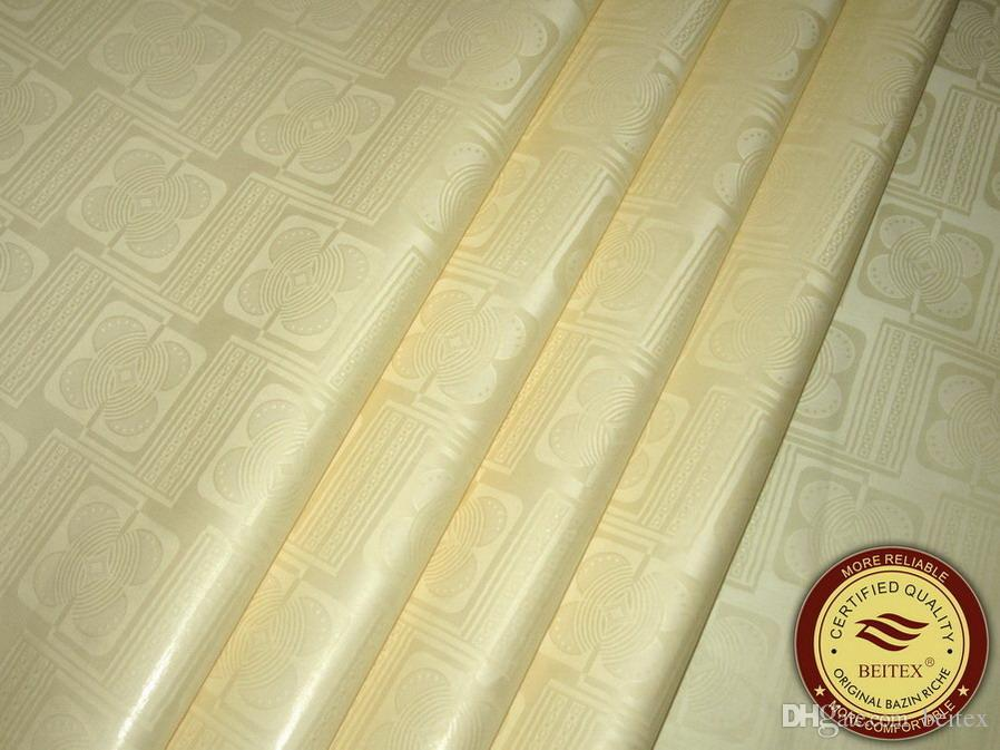 High Quality Guinea Brocade Bazin Riche 10Yards/Bag Cream Color nice design african Garment Fabric Shadda
