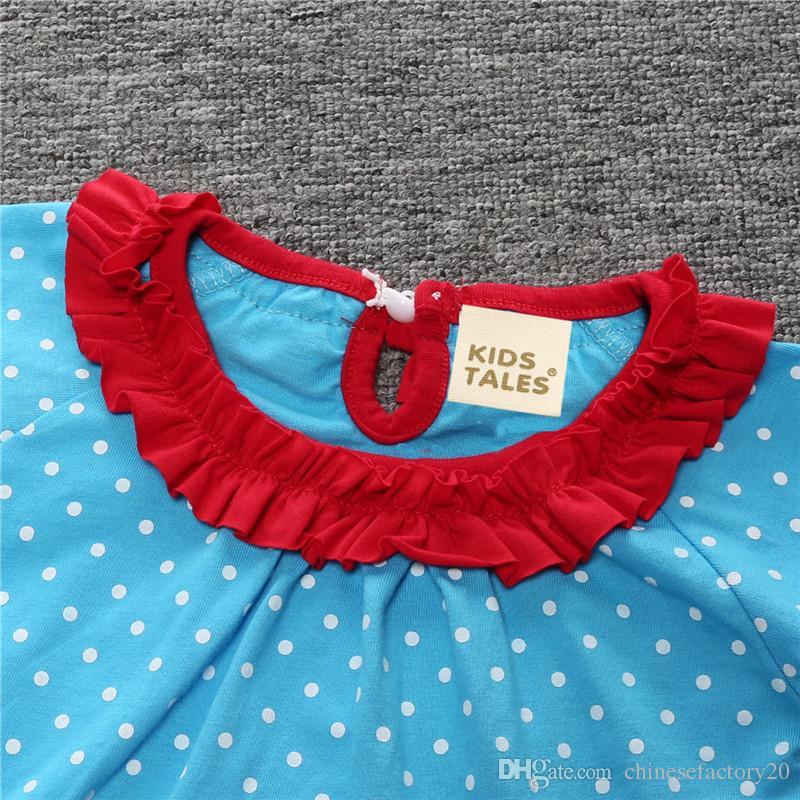 Neonate Moda Autunno Bowknot Abiti T-shirt a pois in pizzo a righe di Natale Abito + Pantaloni Set Pigiami a maniche lunghe Abiti da neonato Boutique