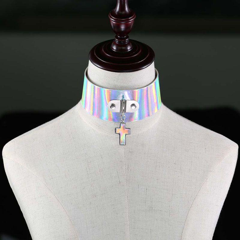 Gothic Harajuku Laser Gargantilla Collar Punk Cruz Colgante Collar de Cuero de LA PU Chockers Collar Regalos del Partido Para Mujer maxi satement 162207