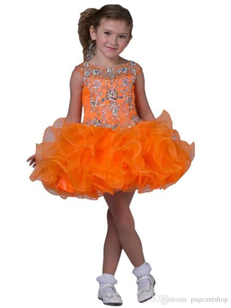 Baby Kids Pageant Cupcake Dresses Toddler Formal Occasion Short Mini Dress Little Crystal Ruffles Tutu Gorgeous Dresses