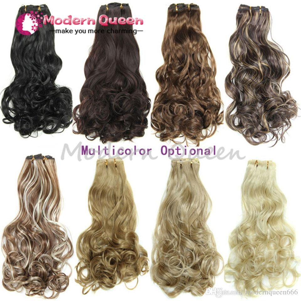 Hairpiece 20inch 160g 16 Clips Synthetic Hair Extension Long Wavy