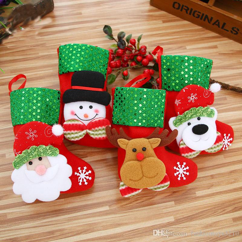 christmas stockings kids christmas tree gifts party decorations bags socks santa reindeer snowman candy bag with opp package christmas cheap decorations