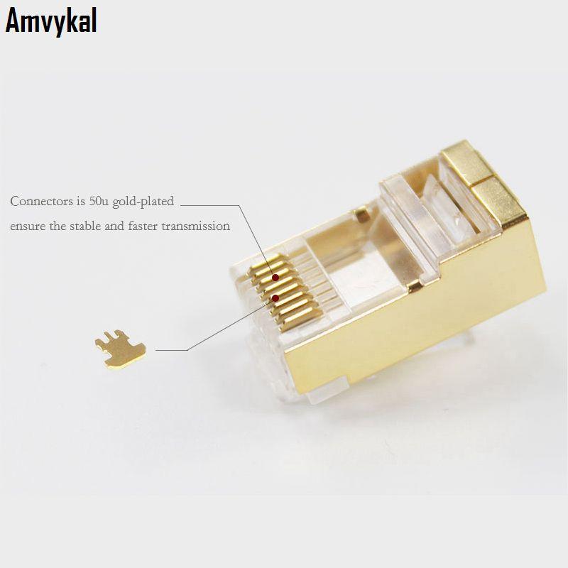 1000ピース/ロットトップクリアリティゴールドメタルシールドRJ-45 8P8C CAT5 CAT5EモジュラープラグアダプタイーサネットLANケーブルネットワークコネクタ