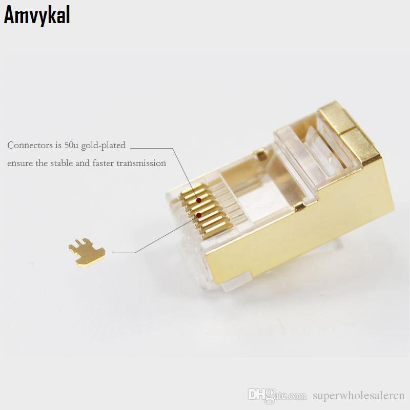 / Üst Kalite Altın RJ45 RJ45 Cat6e Lan Kablo Modüler Tak Ağ Adaptörü CAT6 8P8C Modüler Tak Ethernet Connector
