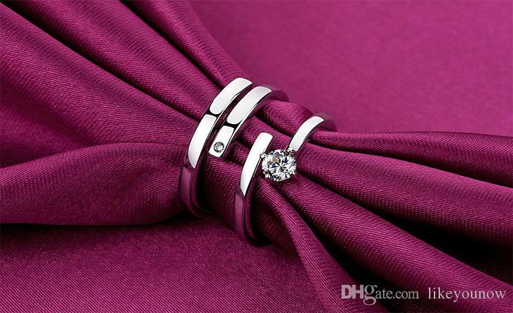 Argento sterling 925 coppie disciplina monastica buddista Anello zircone femminile Anello uomo diamante Anello aperto taglia regolabile