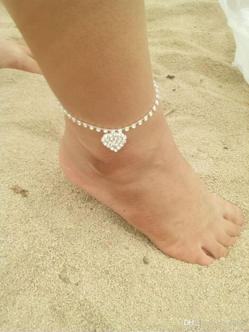 Wholesale Simple Anklet Crystal Rhinestone Love Heart Pendant Toe Ankle Bracelet Chain Link Foot Jewelry For Women Drop Shipping
