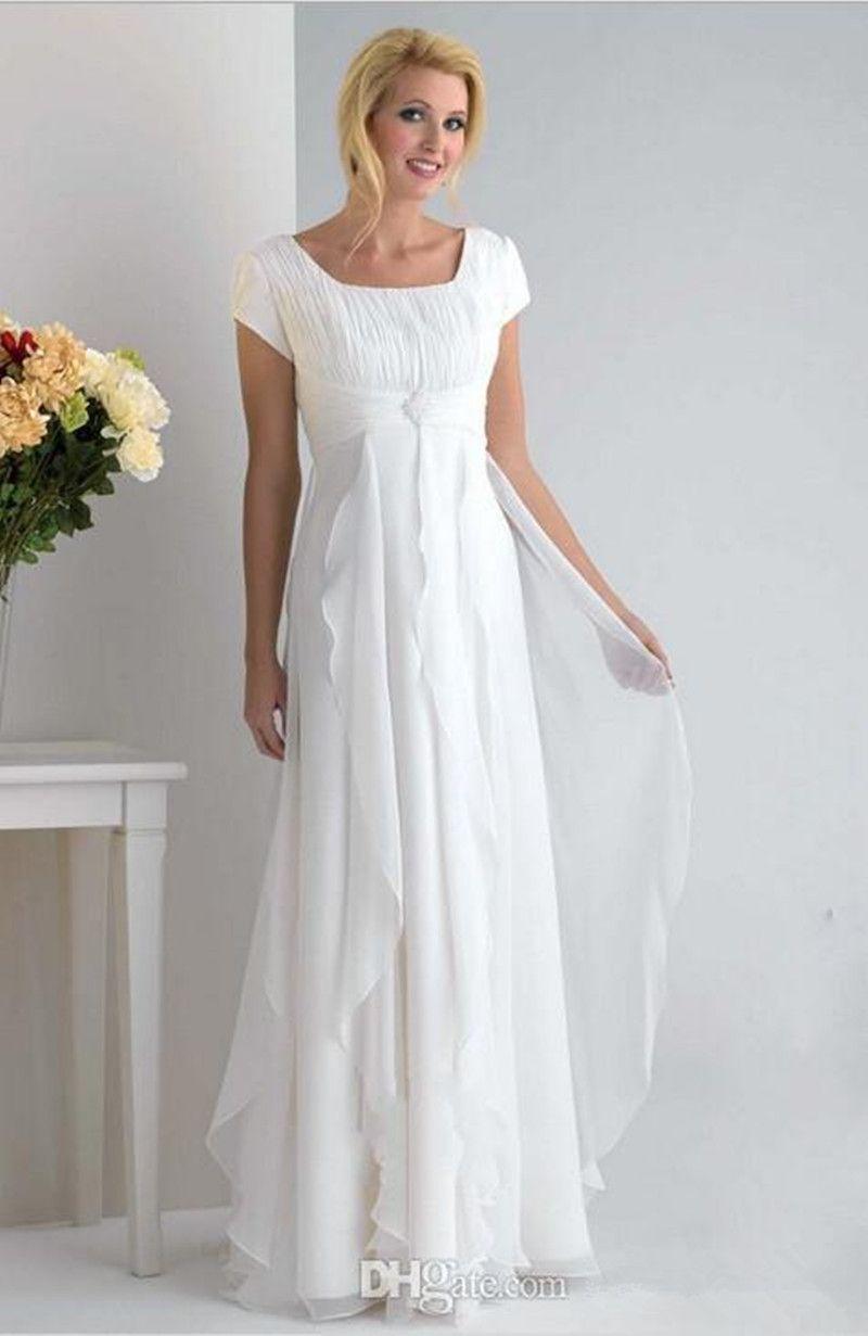 Hot Selling New Maternity Beach Wedding Dresses Summer Style Simple Short Sleeve Floor Length Ruffles Pregnancy Chiffon Bridal Gowns W801