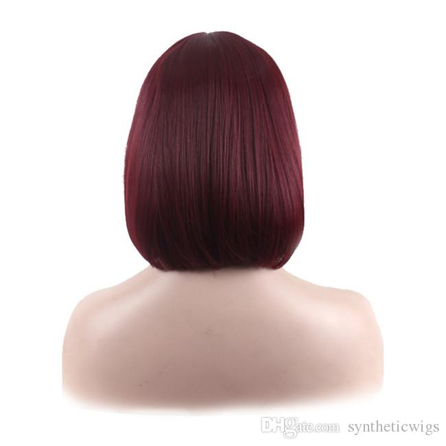 WoodFestival short straight synthetic hair wigs burgundy bob wig with bangs shoulder-length full heat resistant fiber wig women top quality